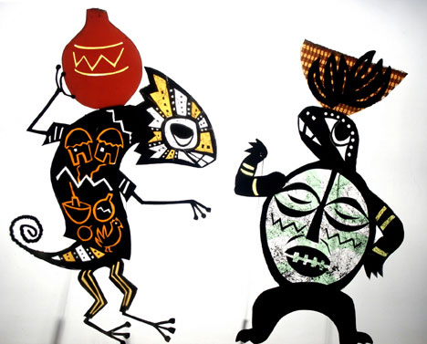 Chameleon and Turtle on their way to the market, from 'Anansi the Spider' - Shadow puppets by Deb Chase