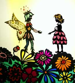Thumbelina meets the Peace Blossom, the King of the Fairies - Shadow puppets by Deb Chase