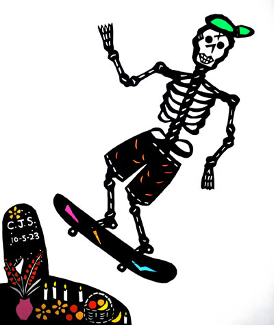 Skeleton skateboarder - Shadow puppets by Deb Chase