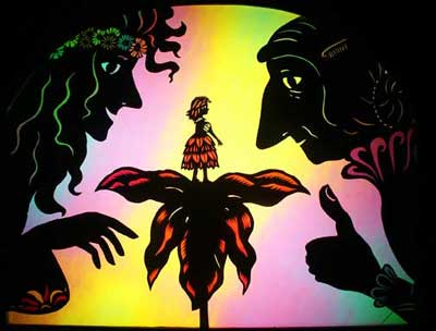 'Far out! A Flower Child!' - Shadow puppets by Deb Chase